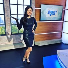 Storm Huntley ( Today LBD on is from but it is a few years old! Female News Anchors, Stunning Women, Leather Fashion, Women's Fashion, Lbd, Year Old, Leather Skirt, Bodycon Dress, Celebs