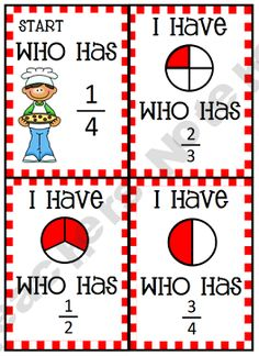 "An ""I Have...Who Has?"" game for math.  Love it.  Also, would be fun for equivalent fractions in upper grades, too!"