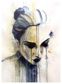 Outside the rain begins 70 x 100 centimeter - akvarel November 2014