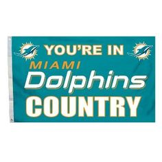 """This officially licensed Dolphins flag is made of durable 100% polyester and is designed with 2 heavy-duty metal grommets so it is easy to hang and fly. These high-quality banner flags read """"Your in M"""