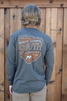 Back Down South Long Sleeve Tee- Shield from Shop Southern Roots TX