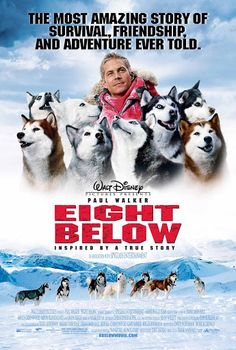 """Eight Below"" tells the harrowing story of a dogsled team left chained outside a research station when the humans pull out in a hurry. The guide who used and loved them wants to return to rescue them but is voted down: Winter has set in and all flights are canceled until spring. Will the dogs survive?"