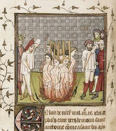 "*underwears* Templars being burnt at the stake - ""Chroniques de France ou de St Denis"" - last quarter of XIV cent. [Royal 20 C VII f. 44v]"