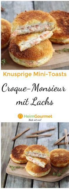 Der perfekte Picknicksnack mit Lachs. Die mini Croque-Monsieurs sind super Fingerfood, das überall mit hingenommen werden kann.