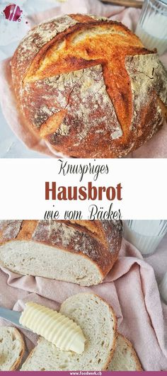 Wonderfully crispy: simple house bread like that from a baker- Herrlich knusprig : Einfaches Hausbrot wie vom Bäcker Do you also love delicious fresh bread? Easy Cookie Recipes, Bread Recipes, Crockpot Recipes, Cake Recipes, Vegan Recipes, Frosting Recipes, Food Cakes, Food Blogs, New Cake