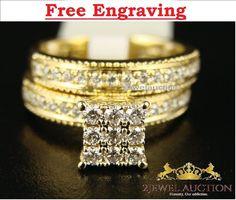 2.Ct Round Sim.Diamond Bridal Set 14K Yellow Gold Finish Engagement Ring Wedding #2jewelauction #WeddingBridalSetEngagementAnniversaryRing
