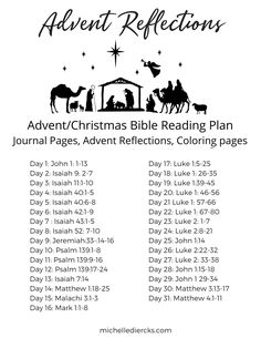 Advent Reflections Bible Reading Plan with color and journal pages. #Advent #Christmas #Bible Reading Plan Family Bible Study, Bible Study Tips, Bible Study Journal, Bible Verses About Faith, Prayer Scriptures, Christmas Bible, Christmas Ideas, Christmas Journal, Merry Christmas