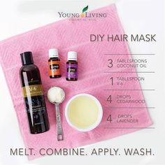 DIY Hair Mask with Young Living Essential Oils | Warm some coconut oil in the microwave until just melted. Let cool slightly, then add the V6 and essential oils. Apply evenly through hair and leave on for 15-30 minutes before washing hair thoroughly. WWW.THESAVVYOILER.COM