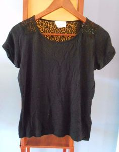 SEZANE by Morgane Sezalory France Black Knit Lace Tee / Small  | eBay