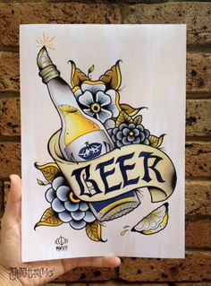 Beer A4 Digital Print Watercolour Traditional Tattoo by Yukittenme, $13.00