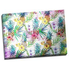 Tablou colorat cu flori exotice in nuante placute de galben si rosu cu inflexiuni roz pastel. Ananasii copti va vor stimula simturile trezite incet de dulceata senzuala a unui fruct incoronat.