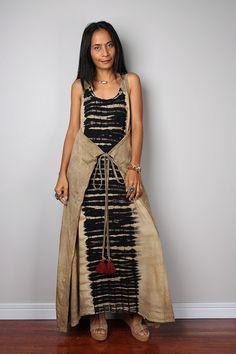 Halfter+Kleid+Maxikleid+Wickelkleid+Tie-Dye-Kleid+von+Nuichan