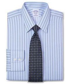 $54 All-Cotton Non-Iron Slim Fit Split Sidewheeler Stripe Luxury Dress Shirt | Brooks Brothers