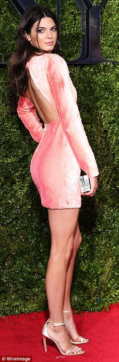 Peaches and cream: Kendall Jenner, 19, looked gorgeous at the Tony Awards on Sunday  as sh...