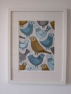 Ooh! Something different! As usual, my love of all things mid-century has lead me to take new inspiration from themes of that period. Ive begun exploring the wonderful world of animals, and here is my second print, Bright Birds, based on my drawings of the lovely creatures. Wishing to keep things lively, colours used in this piece include olive, duck egg blue and grey/turquoise on a patterned grey background. All my images start life as something hand created, either painted, printed or ...