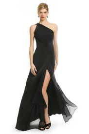 I just found this super-cool site and I'm drooling over these designs! ~ Yvonne  Seductive Satin Gown  You are the vixen of the night when you walk into the gala wearing this sexy Versace Collection one shoulder satin gown. With its high slit and shape, you'll be the talk of the night. Go with mod earrings like the Gerard Yosca's Geo Black Onyx Drop Earrings.