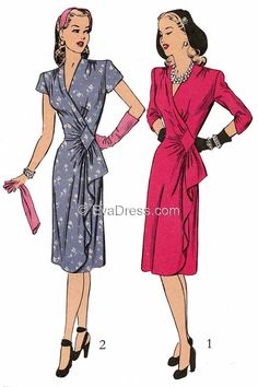 1943 Wrap Dress Multi-size Pattern by EvaDress-Another by EvaDress