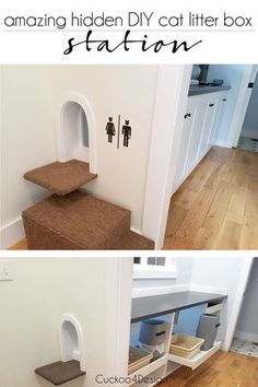 Cat Training Litter Box Love this cat door and the enclosure. Might be overkill with the cabinet and fans, etc. but some of the ideas would be good. - Using Ikea cabinets or other cabinets to make an amazing hidden litter box enclosure station