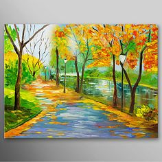 Hand Painted Oil Painting Landscape Park,Avenue with Stretched Frame Ready to Hang – USD $ 79.99