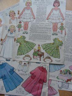 Paper Dolls  magazine cut-out pages  1950s