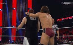 Neville taking down Owens with a reverse frankensteiner