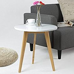 Asunflower Bamboo Coffee Tables, Round Side/Tea Tables Detachable Sofa End Table for Living Room White – Small