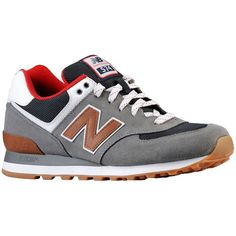New Balance 574 - Men's - Running - Shoes - Grey/Red