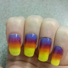 Sunset nail art Gradient nails Ombre nails