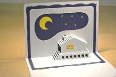 月と山小屋 The Moon and a cottage [Origamic Architecture , Pop up card , kirigmi , 折り紙建築 , ポップアップカード]