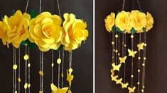 Yellow roses will win your heart.and the Wall hanging of this flowers will enhance the beauty of your home. If you like my video Plz Like, S. Paper Wall Hanging, Wall Hanging Crafts, Hanging Flower Wall, Flower Wall Decor, Hanging Paper Flowers, Paper Wall Decor, Paper Flowers Craft, Paper Flower Wall, Flower Crafts