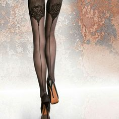 """Womens Stocking, hosiery,  & Tights FiORE """"JOLENA"""" 40 DEN Patterned Tights  Size 2 Color Black invisible reinforced toe strong structures flat seams cotton gusset FiORE Accessories Hosiery & Socks"""