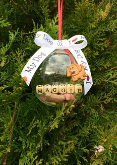Handmade I love My Dog Personalized Dog christmas ornament by kuteKrazyKreations