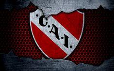 Descargar fondos de pantalla Independiente, 4k, Superliga, logotipo, grunge, Argentina, fútbol, club de fútbol, de metal textura, el arte, Independiente FC