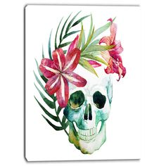 Designart - Watercolor Skull with Flowers - Floral Art Print (16 x 32)