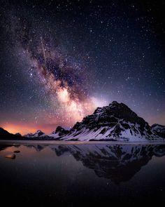 🇨🇦 Starry sky (Banff, Alberta) by Star Photography, Night Photography, Amazing Photography, Landscape Photography, Nature Photography, Starry Night Sky, Night Skies, Sky Night, Nature Pictures