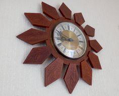 Vintage Retro 1960s Teak Sunburst Wall Clock by TechnicolourRetro