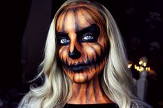 9 Halloween Makeup Tutorials If You Want a Challenge - Kelsey René - holloween Halloween Pumpkin Makeup, Halloween Makeup For Kids, Pumpkin Costume, Kids Makeup, Creative Halloween Costumes, Scary Halloween, Halloween Pumpkins, Halloween Stuff, Fantasy Makeup
