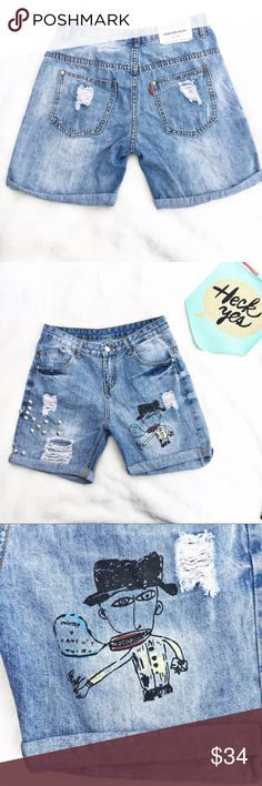 Jean shorts distressed studded cuffed cartoon These are truly one of a kind! They are in perfect condition no lose studdes nor are the pictures peeling. Great for your closet! Approx measurements are: inseam 6.5 inches waist 29 inches Shorts Jean Shorts
