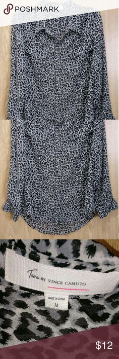 Vince Camuto - Button-down blouse Gray & black animal print Vince Camuto Tops Button Down Shirts