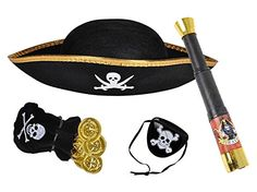 """Kids Pirate Dress Up Set - Basic Necessities To Rule The Seas. Set Includes: (1) Kids Felt Pirate Hat (1) Pirate Telescope (1) Pirate Eye Patch (1) Bag Of Pirate Loot Coins. Basic Pirate Dress Up Necessities To Rule The Seas. Great To Use At Home, In The Yard, Or At The Beach. Hat Measures: 12"""" x 10"""" - Telescope 13"""" Extended & 7"""" Collapsed."""