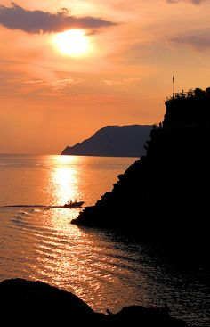 Sunset in Manarola, Province of La Spezia , Liguria region Italy