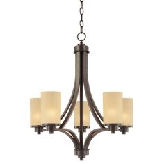Parkdale Oil Rubbed Bronze Five Light Chandelier Artcraft Glass Shade Chandeliers Ceiling