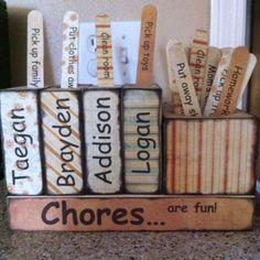 Chore chart using 2x4, scrapbook paper, and tongue depressors. (Kids Wood Crafts Scrapbook Paper)