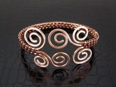 Wire Wrapped Bracelet Hammered Copper Spiral Wire Weave Bracelet or Bangle
