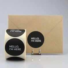 "Stickers ""Hello I'm here"" (per 20) - ZWART"
