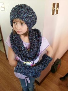 Matching set. Slouch hat infinity scarf and fingerless gloves.