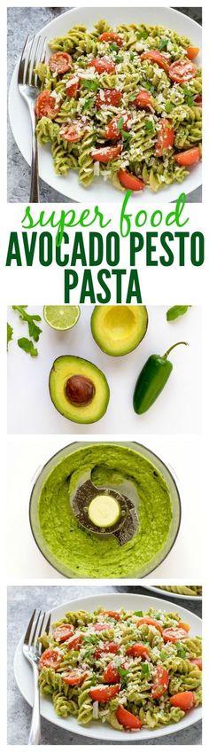 15 Minute Super Food Avocado Pesto Pasta. Naturally green St. Patrick's Day recipe! www.wellplated.com