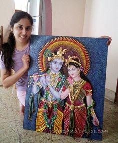 Hello Friends, Wishing you a very happy Krishna Janmashtami in advance. Kerala Mural Painting, Krishna Painting, Madhubani Painting, Indian Art Paintings, Clay Wall Art, Mural Wall Art, Arte Krishna, Krishna Radha, Lord Krishna