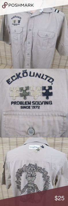 """ECKO UNLTD Masters Mens L Patch Puzzle Shirt Inventory # B137  Brand:  Ecko Unltd THE MASTERS COLLECTION  Condition:   This item is in Very Nice Condition! Arm Patch loose on top (see pic #7)  Item Specifics: Embroidered Patches, Short Sleeve, Button Front/Shoulder  Material:100% Cotton  Color:Tan  Size: Mens Sz L  Pit to Pit (Across Chest):   23.5""""  Length (Top of Collar to Hem):   32"""" Ecko Unlimited Shirts Casual Button Down Shirts"""