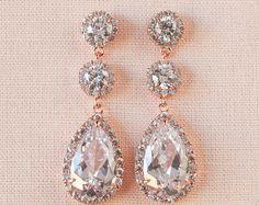 Rose Gold Earrings, Wedding earrings, Long Bridal earrings, Bridesmaids, Swarovski, Wedding Jewelry, Rose Gold Long Stud Earrings
